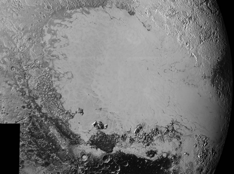 Mosaic of high-resolution images of Pluto, sent back from NASA's New Horizons spacecraft from Sept. 5 to 7, 2015. The image is dominated by the informally-named icy plain Sputnik Planum, the smooth, bright region across the center.