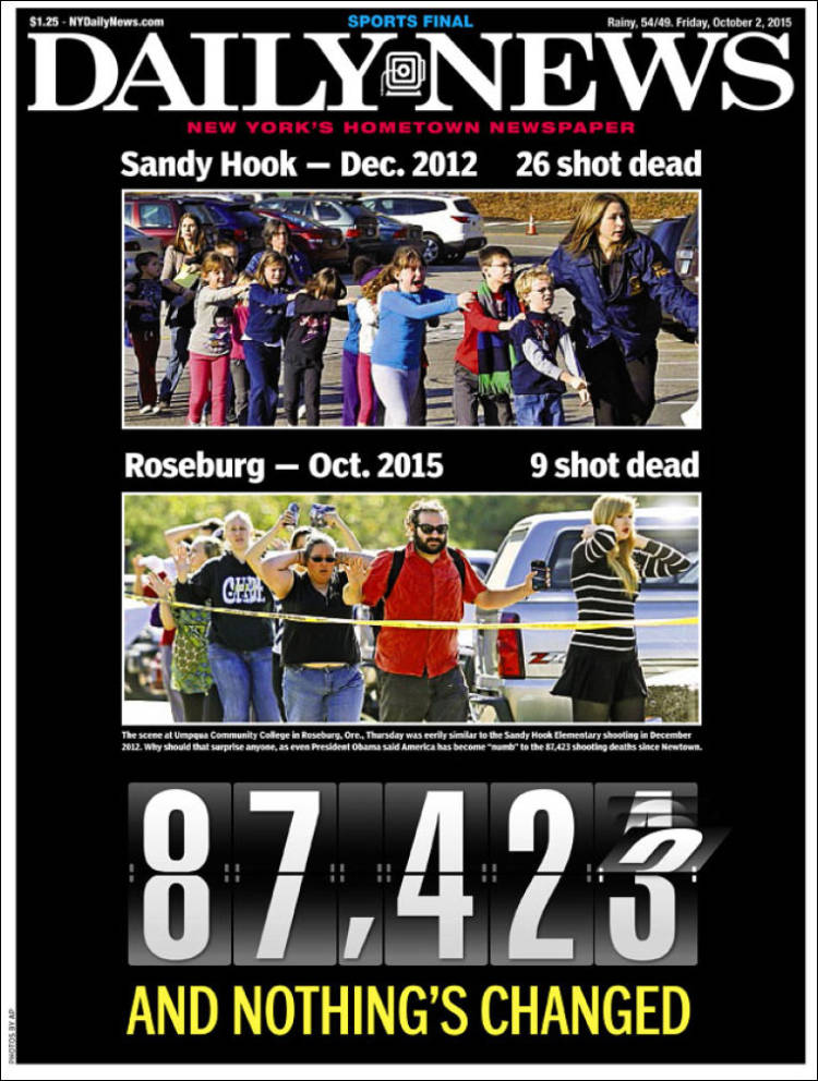 Front page of the New York Daily News for October 2, 2015.