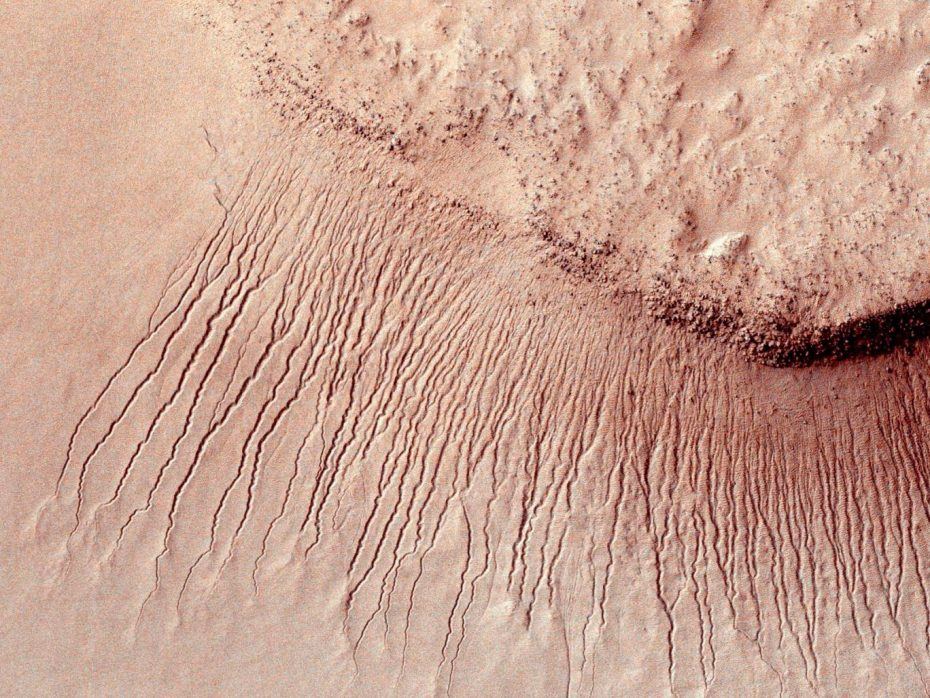 Portions of the Martian surface shot by NASA's MRO show many channels from 1 meter to 10 meters wide on a scarp in the Hellas impact basin.