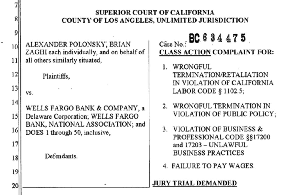 Ex Wells Employees Who Were Fired For Not Committing Fraud Launch 2 6b Lawsuit Boing Boing