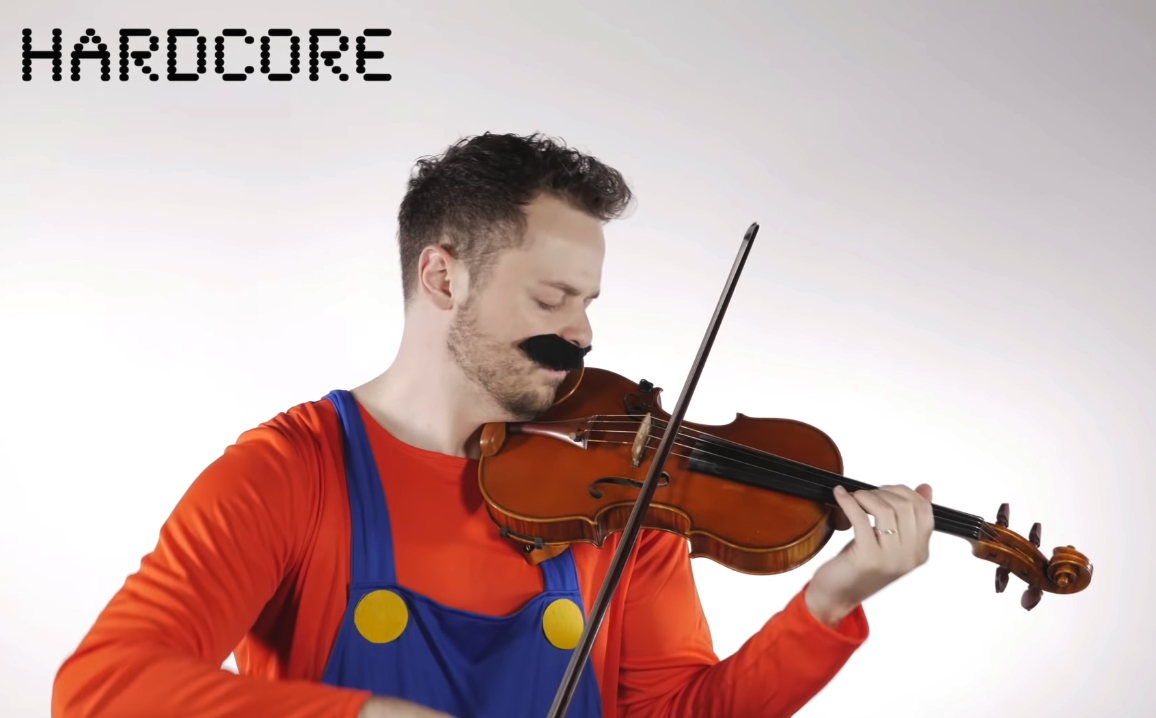 Mario theme performed on violin at four levels of expertise