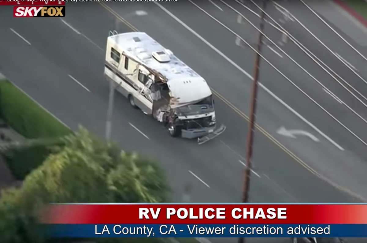 Woman in stolen RV leads police on a wild high-speed chase