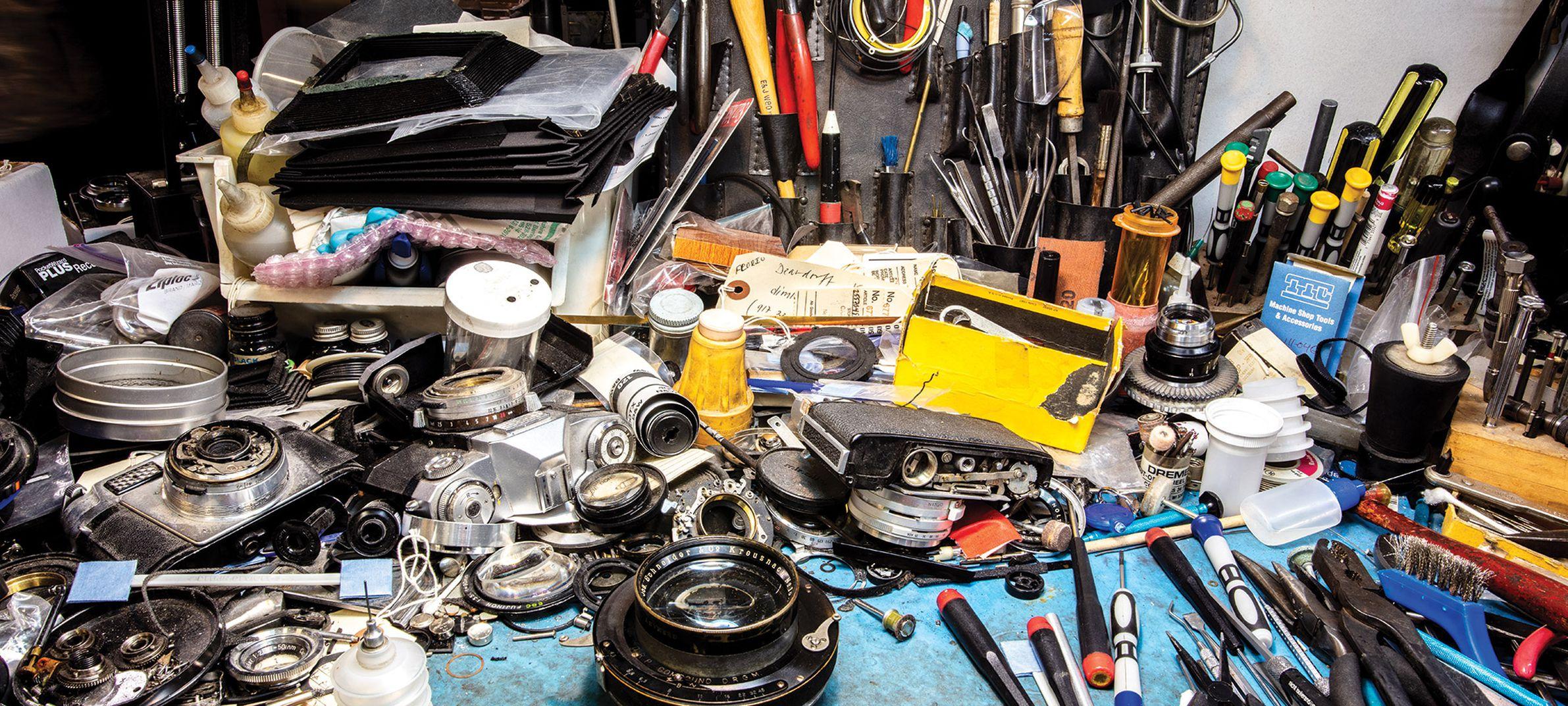 Photo of a camera repair shop in NYC, by Stan Horaczek