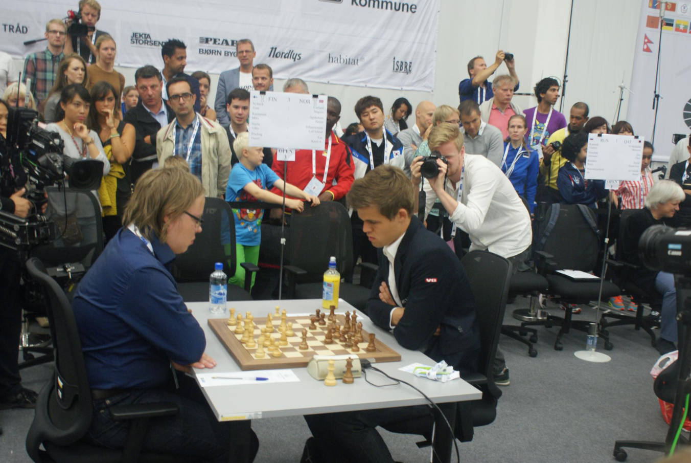 Photo of Magnus Carlsen at a chess tournament