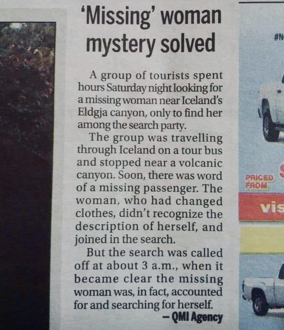 Photo of a newspaper story about a woman involved in a search party for herself