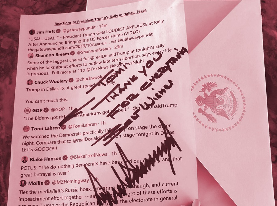 Trump White House prints out tweets for him to view on hard copy