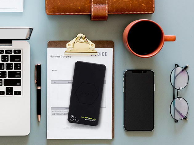 Juice up on the go with this power bank/wireless charger combo
