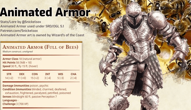 Howto: roleplay a suit of armor filled with bees