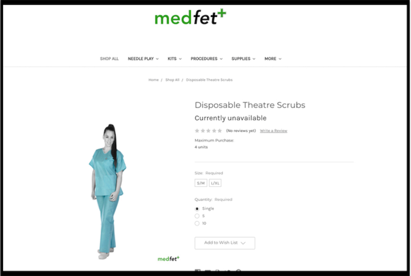 Kinky medical role play and fetish supplier donates scrubs to hospital