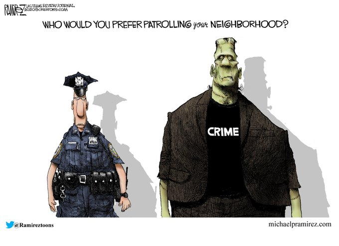 """I don't think the creator of this pro-policing political cartoon actually read """"Frankenstein"""""""