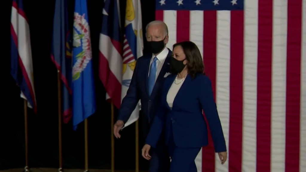 Biden and Harris wear face masks at first joint campaign appearance