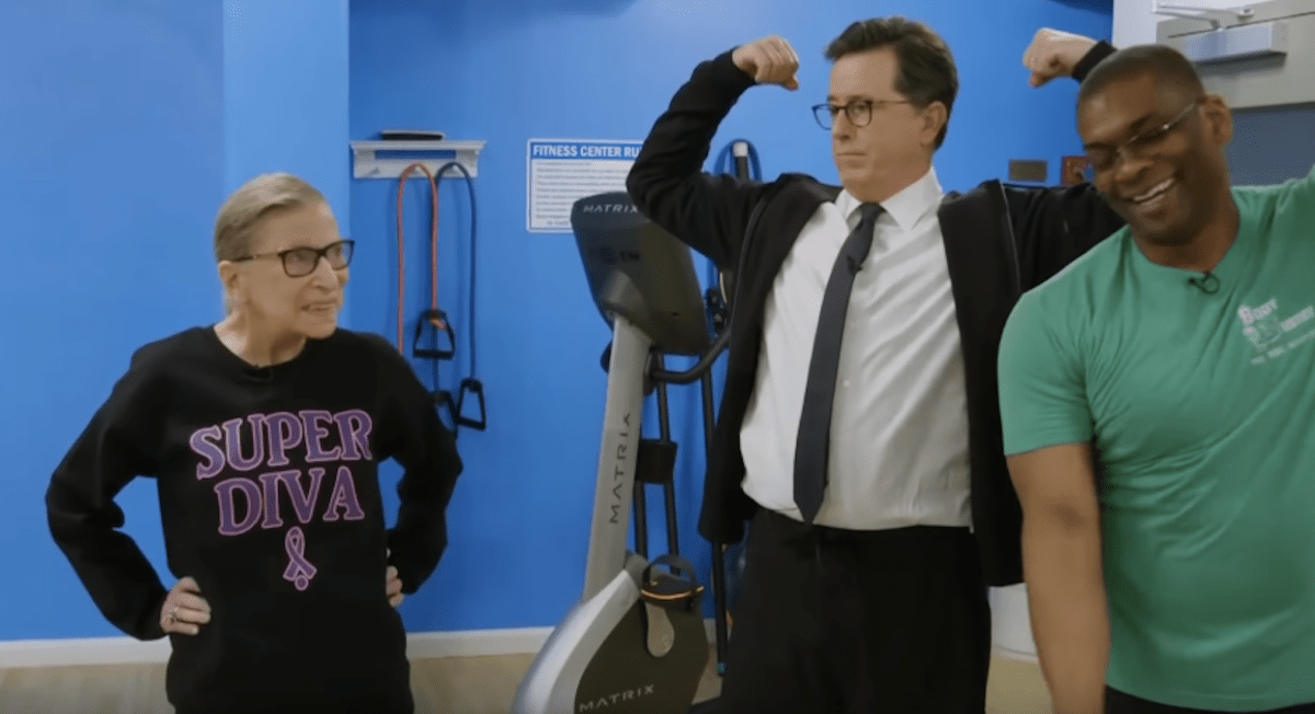 Stephen Colbert working out with RBG in 2018   Boing Boing