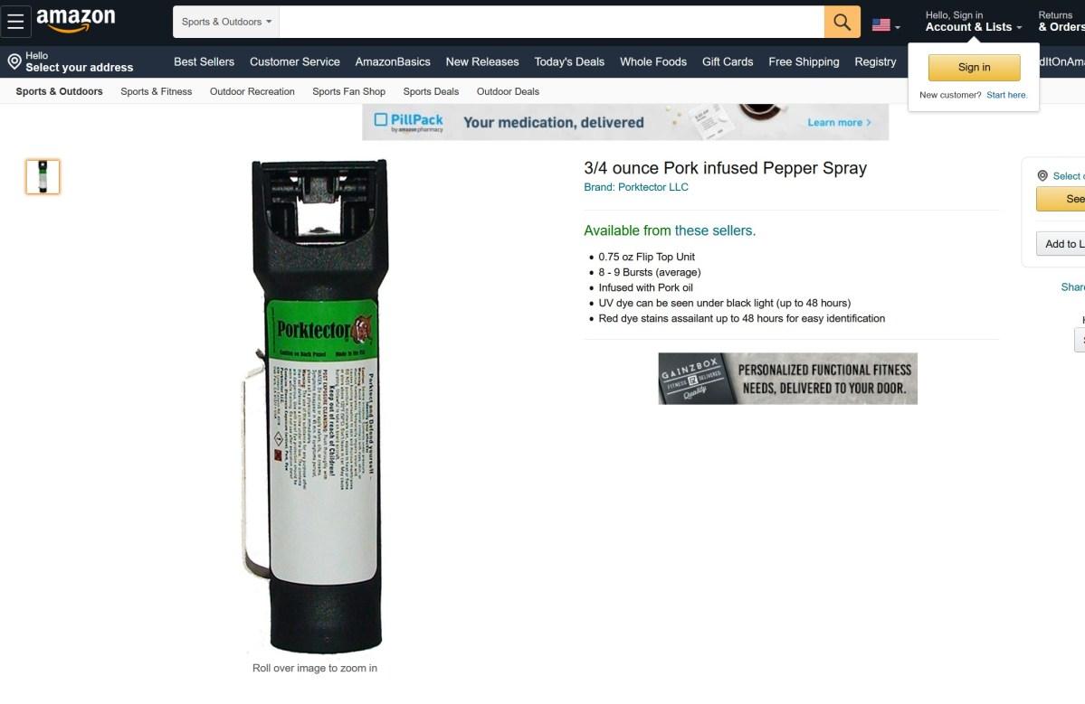 "Amazon offers pork spray to protect from ""Muslim rape gangs"""