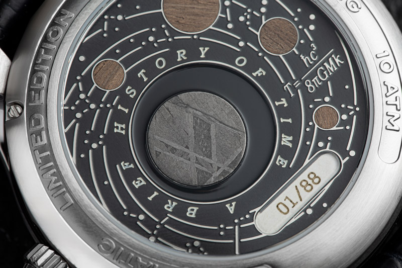 Photo of the back face of a Bremont wristwatch that incorporates pieces of Stephen Hawking's desk