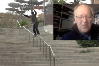 kid skateboards down a rail while werner herzog watches