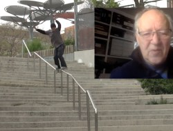 kid skateboards down a rail while werner herzog watches