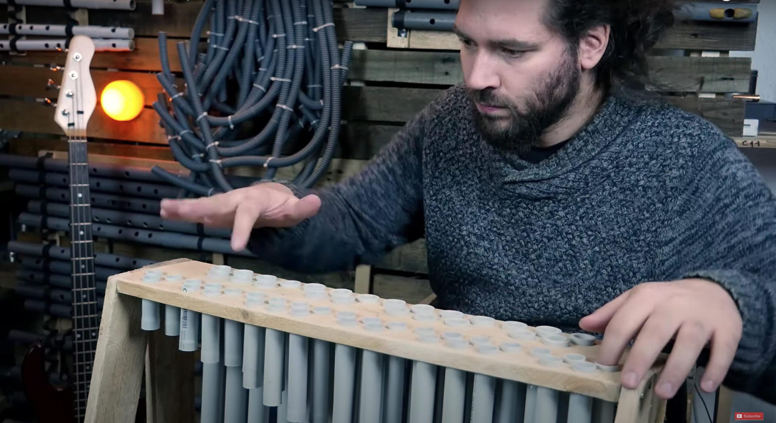 "Maker creates a tiny PVC tube instrument, plays ""Popcorn"""