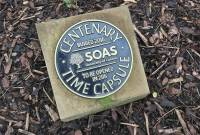 Photo of time-capsule marker by Matt Brown