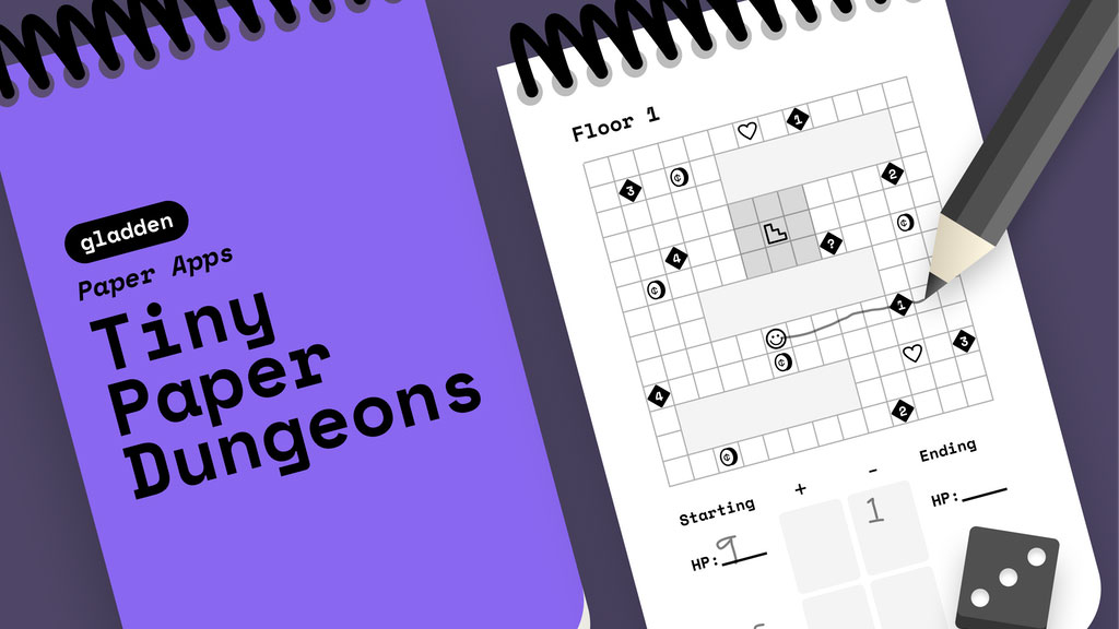 Tiny Paper Dungeons: pocket-sized, spiral-bound, randomly-generated paper adventures