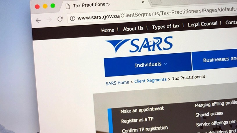 Screenshot of the South African Revenue Service web site