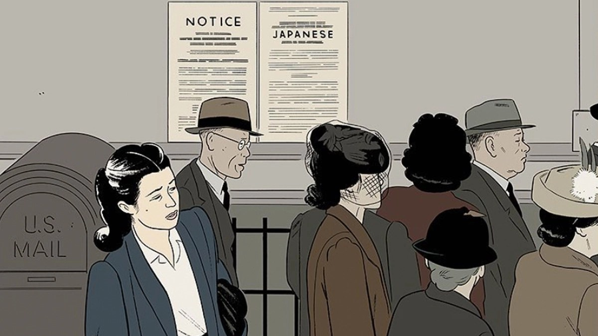 Sepia hue illustration featuring a line of Japanese people in the 40s waiting at the internment camp