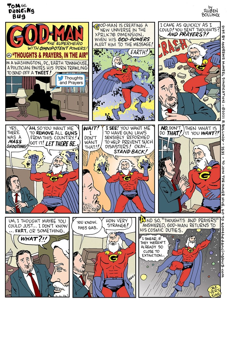 "God-Man, in ""Thoughts and Prayers, in the Air""! 