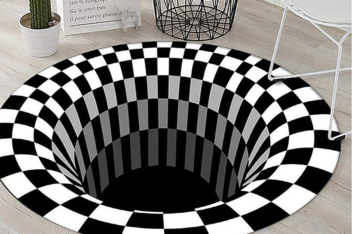 This optical illusion area rug will shred your room's space-time continuum (it won't) | Boing Boing