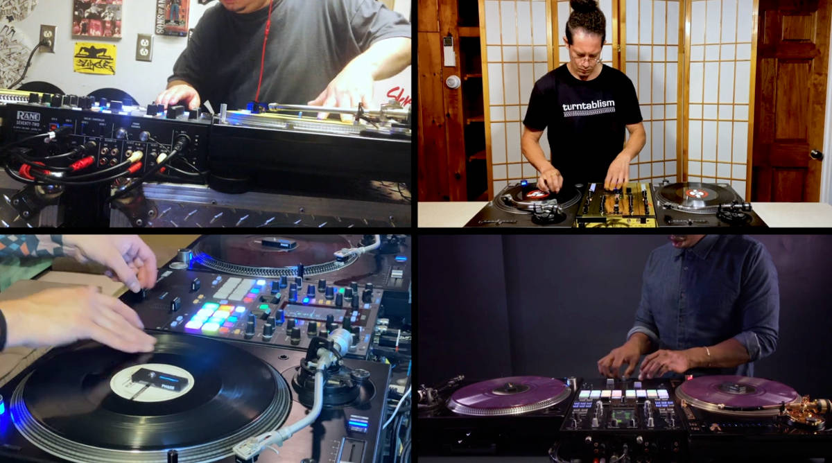 Screenshot of YouTube video of Harbanger playing, with the screen divided into four quadrants, showing four turntablists playing at the same time