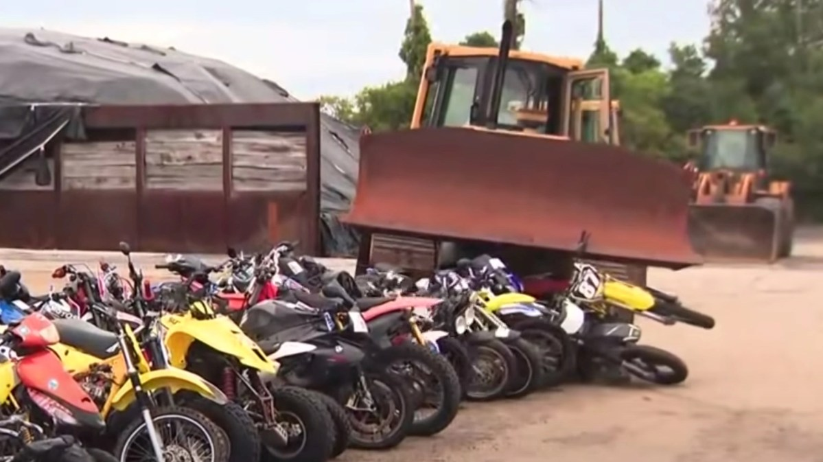 NYC police confiscated thousands of dirt bikes and are crushing them. Here's video of them doing so with a bulldozer. | Boing Boing