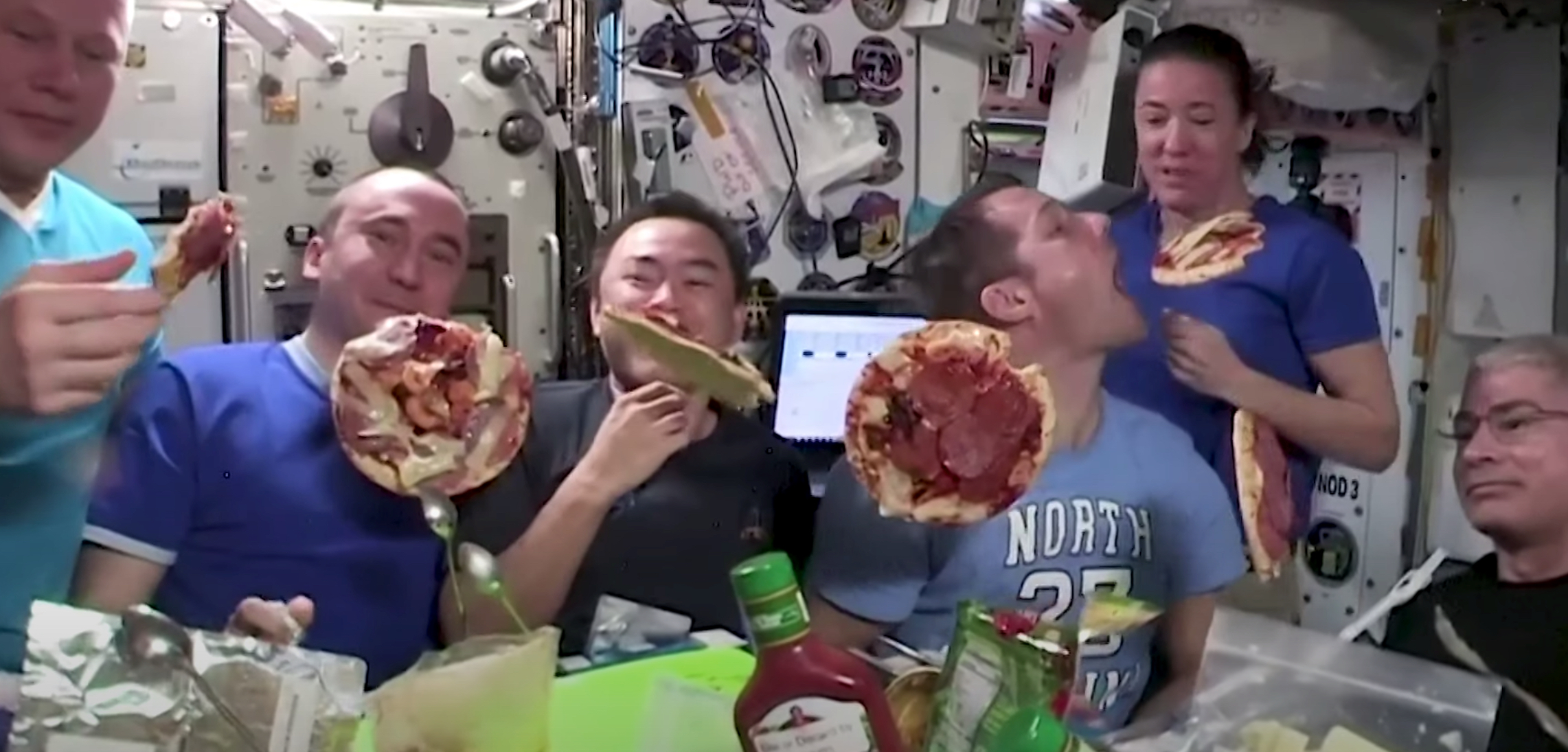 Look! It's pizza night aboard the International Space Station!