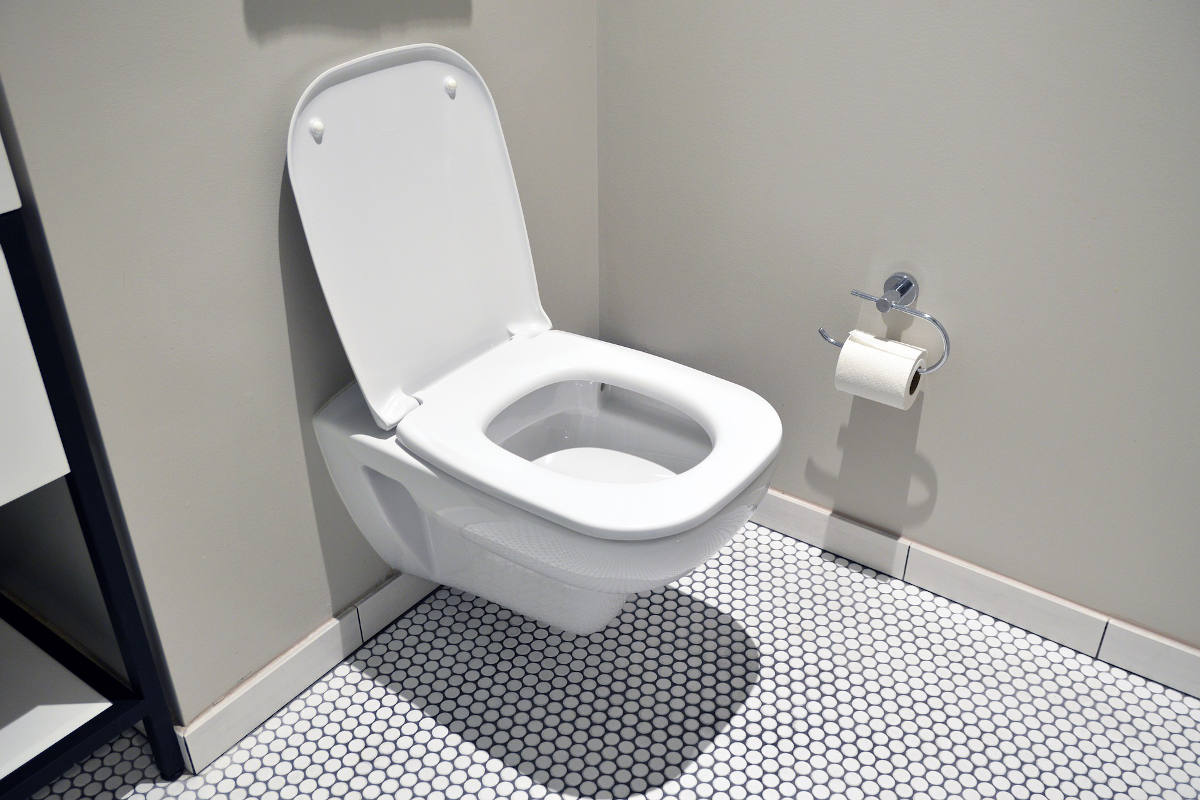 Photo of a toilet with the lid up