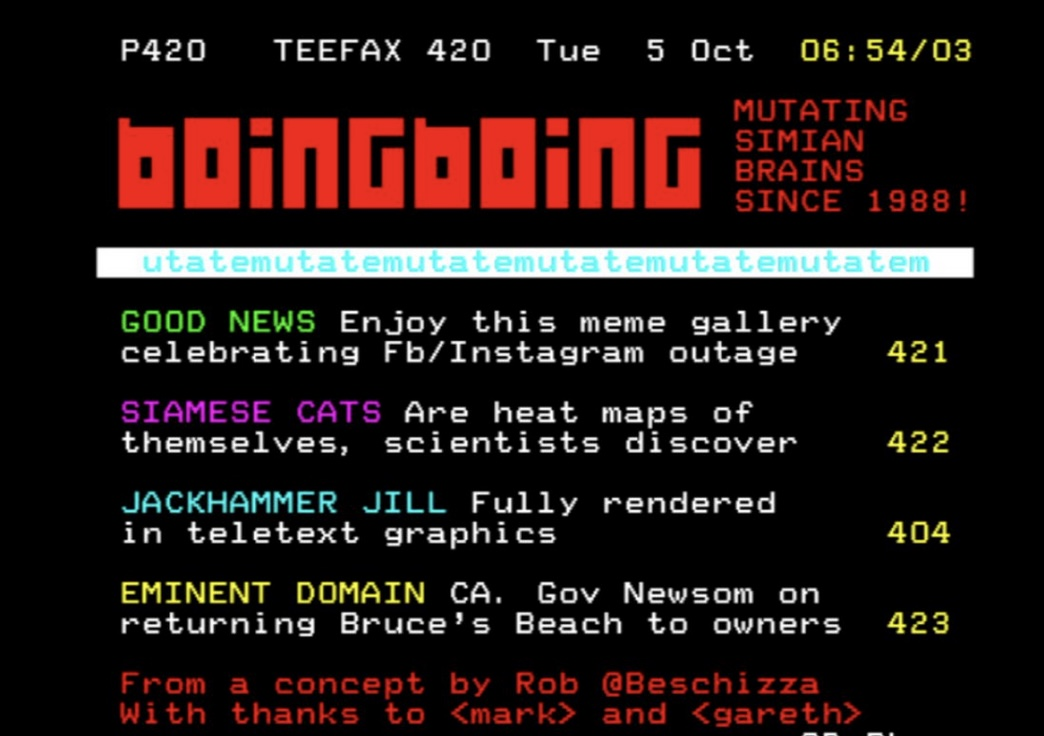 Boing Boing, teletext edition?