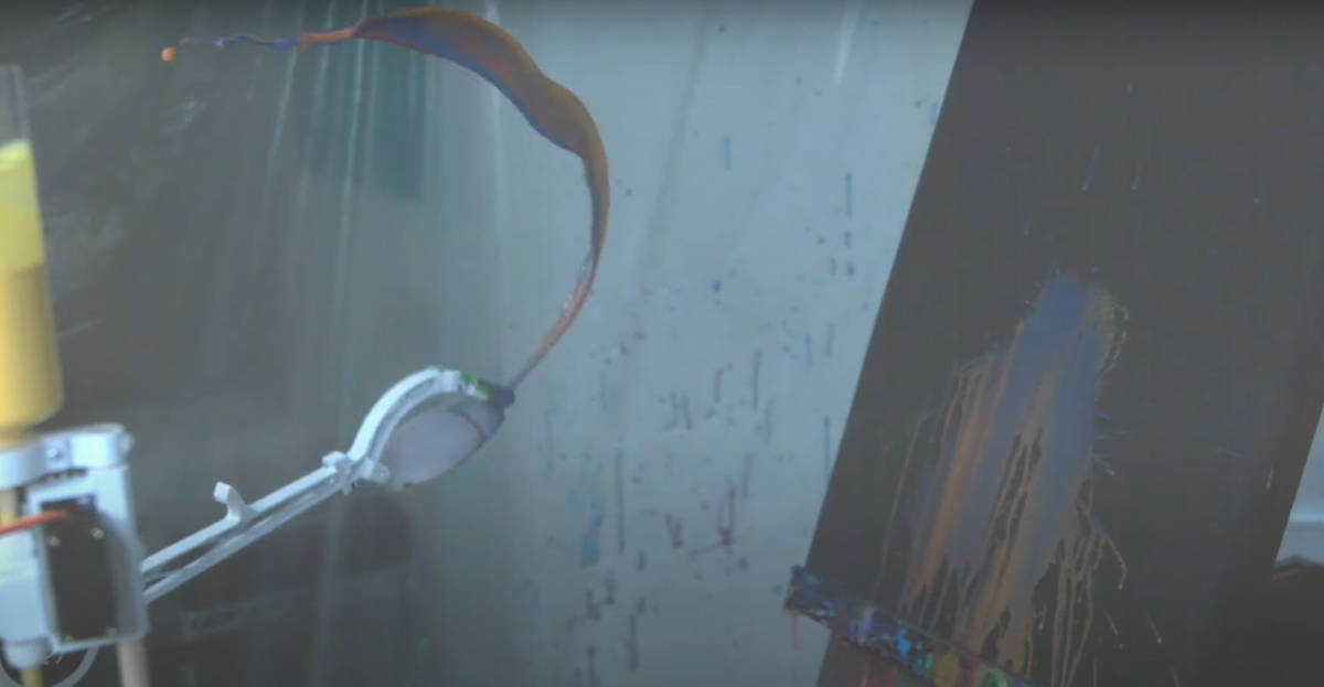 Flingbot, a robot that hurls paint at canvases   Boing Boing