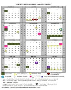 Calendrier Scolaire 20192020.Calendrier Scolaire Ecole Bois Franc Aquarelle