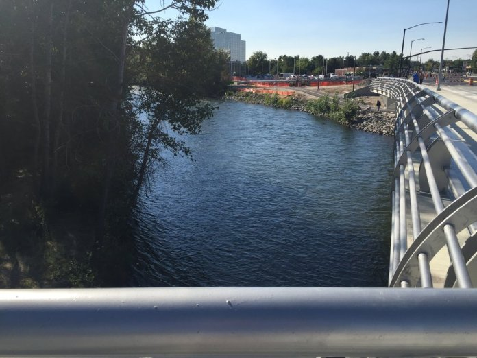 View of the bridge from one of the new piers. More photos below