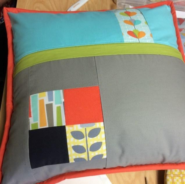Pillow back with hidden zipper.