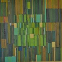 patchwork art piece in greens