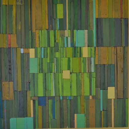 patchwork art piece in greens