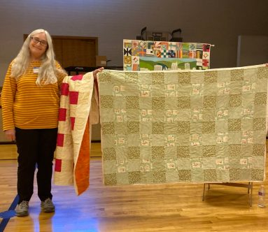 gingham quilt in light colors