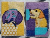 quilted post cards of dog