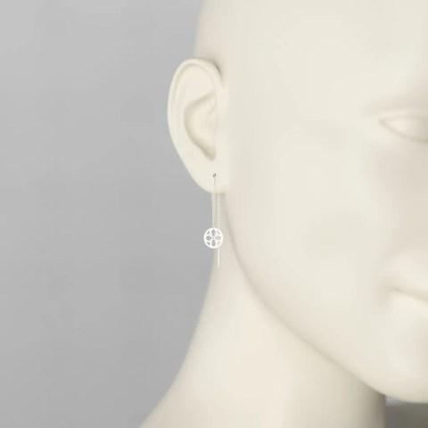 Boucles d'Oreilles Pendants en Or Gris Palladié 750/1000ème