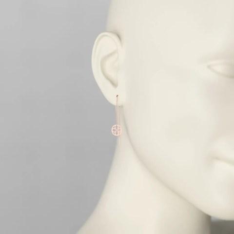 Boucles d'Oreilles Pendants en Or Rouge 750/1000ème
