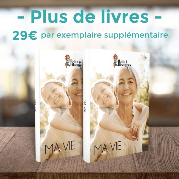 """Boîte à Histoires : produit livre . On voit deux livres avec le texte suivant : """"29€ par livre supplémentaire"""""""