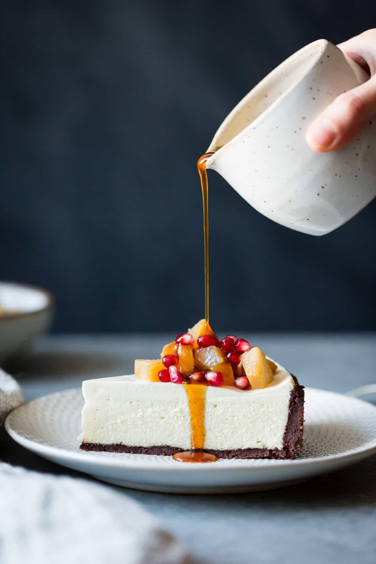 Chocolate Crusted Chvre Cheesecake With Earl Grey Poached