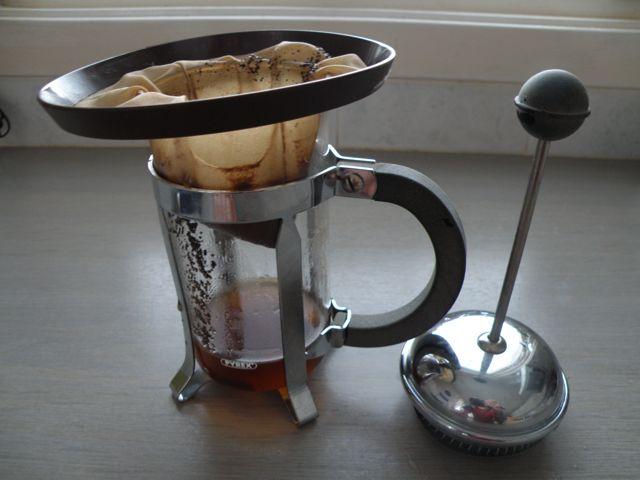 Draining coffee for Bokashi
