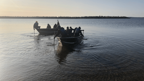 Lac Brochet wood harvesters on their morning commute