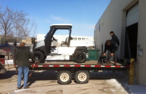 Loading the EV for shipping to Garden Hill