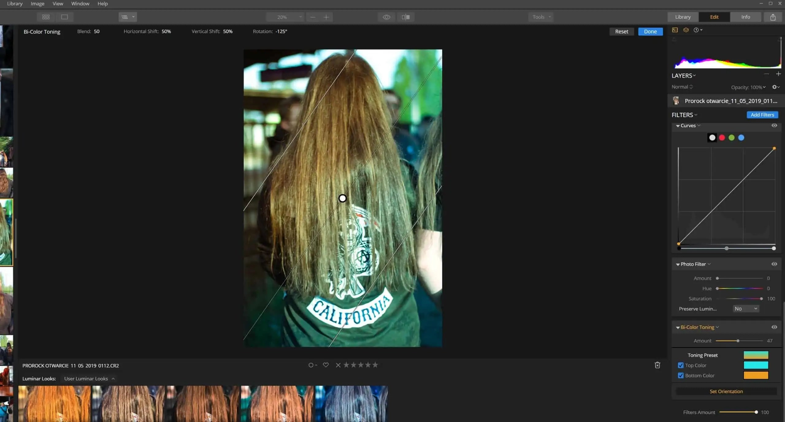 Bi color toning koloryzuje zdjęcie jak filtr gradientowy - Zakręcone liście w affinity photo