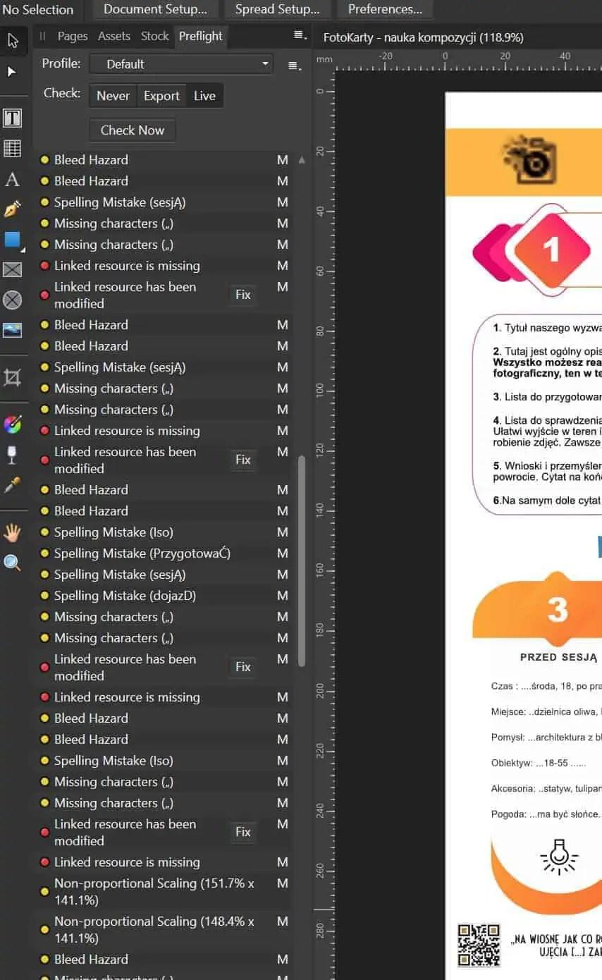 Preflight checkup czyli kontrola wstepna bledow skladowych w Affinity Publisher - Affinity photo po polsku 5 najważniejszych zalet !