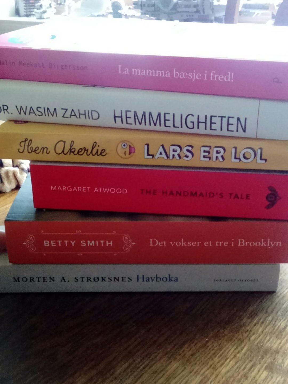 Bøker i stabel. fra toppen og ned ligger: La mamma bæsje i fred, Hemmeligheten, Lars er LOL, A handmaids tale, Det står et tre i Brooklyn og nederst ligger Havboka